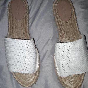 J.Crew White Perforated Leather Espadrilles Slides